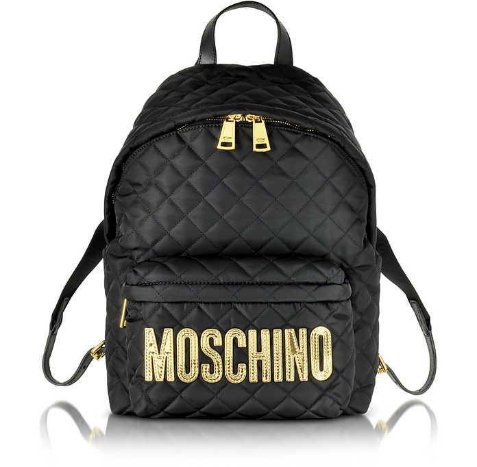 sac dos en nylon matelass noir avec logo moschino sur forzieri. Black Bedroom Furniture Sets. Home Design Ideas