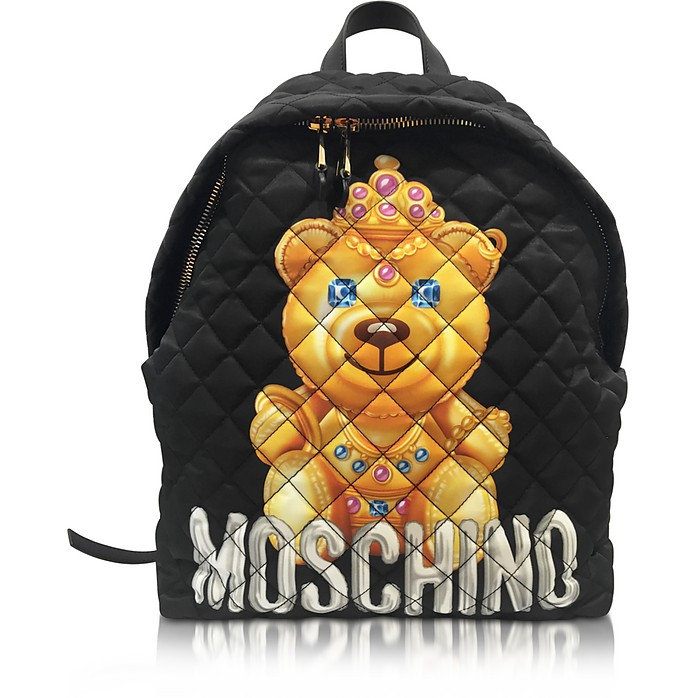 Teddy Bear Black Quilted Nylon Backpack - Moschino