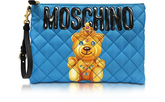 Teddy Bear Blue Quilted Nylon Clutch - Moschino