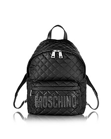 Black Quilted Nylon Backpack w/Logo - Moschino