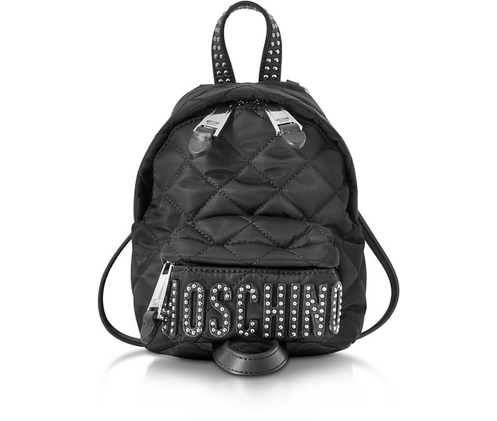 9acf0d3ab8 Moschino Black Quilted Nylon Mini Backpack w/Studs at FORZIERI