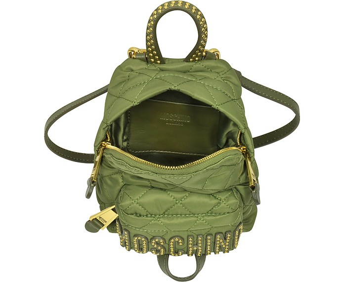 Moschino Khaki Quilted Nylon Mini Backpack w Studs at FORZIERI 88bf305b41142