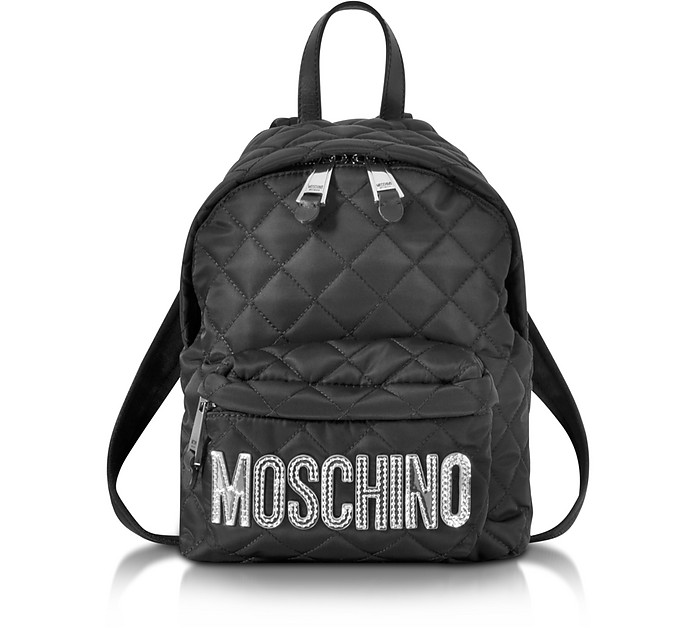 Black Quilted Nylon Small Backpack w/Silver Logo - Moschino