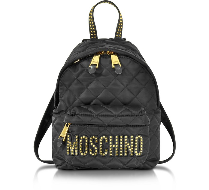 Moschino Black Quilted Nylon Small Backpack w Studs at FORZIERI Canada bb88c6d902d41