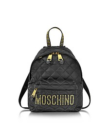 Black Quilted Nylon Small Backpack w/Studs - Moschino