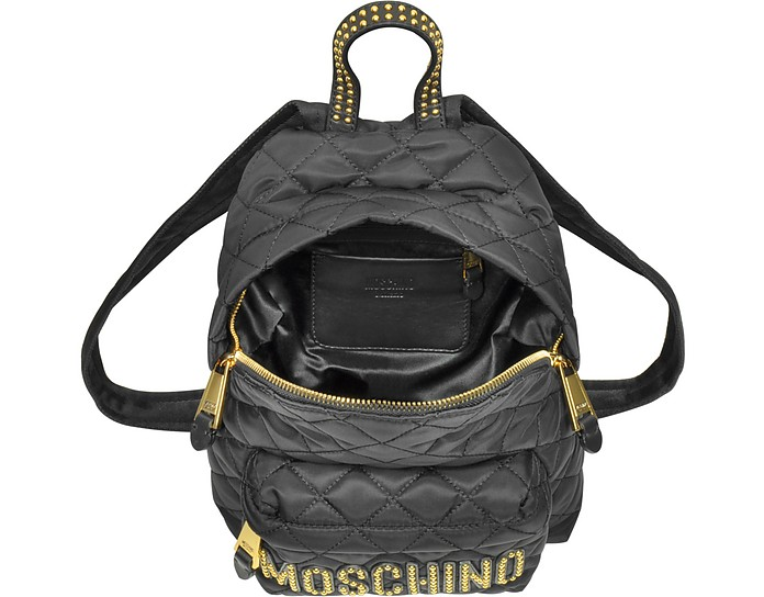 Black Quilted Nylon Small Backpack w Studs - Moschino. C 583.50 C 778.00  Actual transaction amount 60c4353600ae2