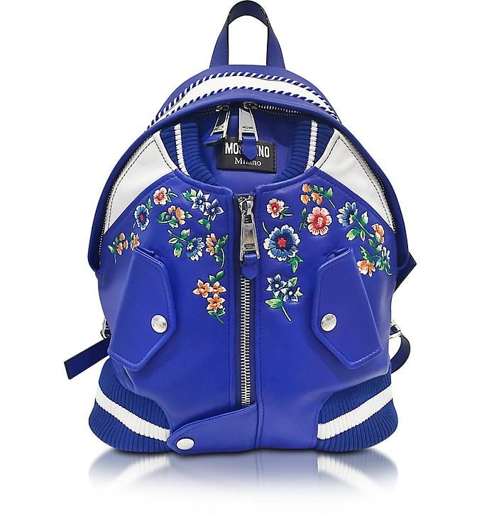 Blue & White Leather Jacket Backpack - Moschino