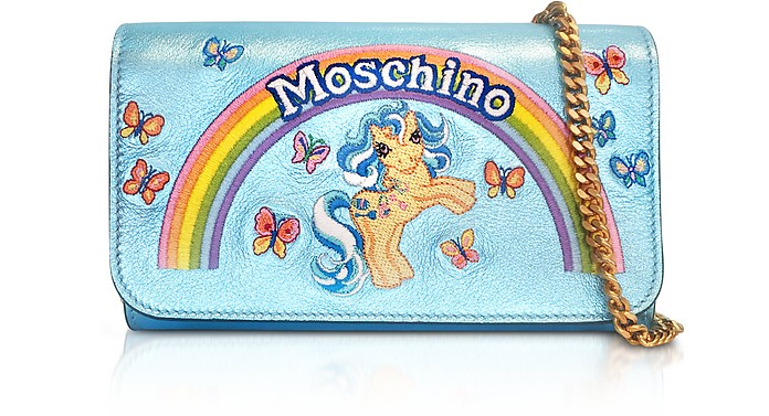 My Little Pony Laminated Leather Wallet Clutch w/Chain - Moschino
