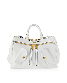 White Leather Satchel Bag - Moschino