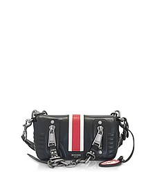 Black Quilted Leather Small Shoulder Bag w/Red Band - Moschino