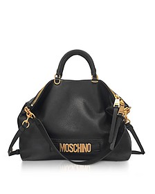 Black Leather Tote Bag w/Shoulder Straps and Golden Signature - Moschino