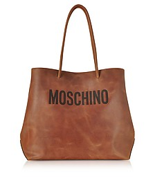 Brown Leather Tote Bag w/Signature Logo - Moschino
