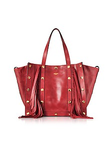 Red Leather Tote Bag w/Fringes and Golden Studs - Moschino