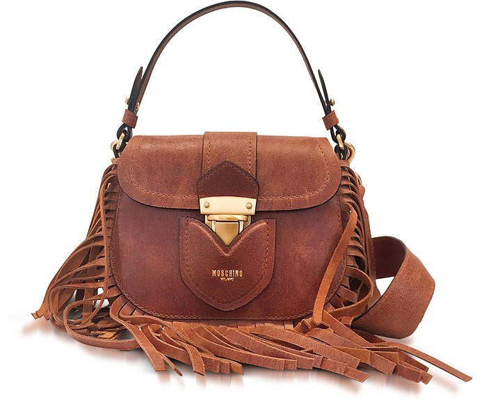 Brown Leather Crossbody Bag w/Fringes - Moschino