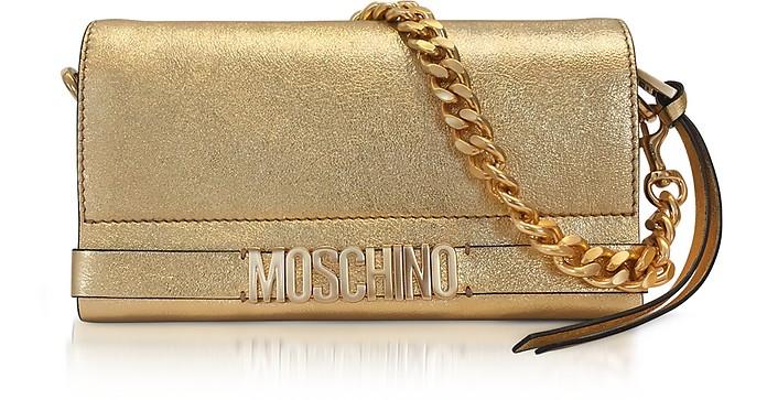 Gold Metallic Leather Clutch w/Chain Strap - Moschino