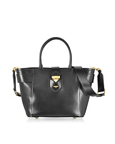 Black Leather Tote Bag w/Shoulder Strap - Moschino