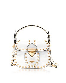 White Leather Crossbody Bag w/Golden Studs - Moschino
