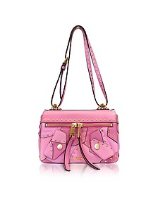 Pink Leather Shoulder Bag w/Golden Studs - Moschino