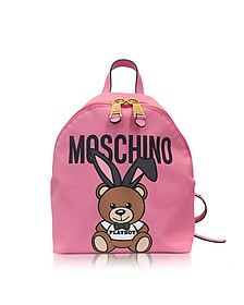 Teddy Playboy Pink Print Eco Leather Backpack w/Logo - Moschino
