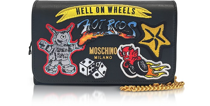 Black Leather Wallet Clutch w/Patches - Moschino