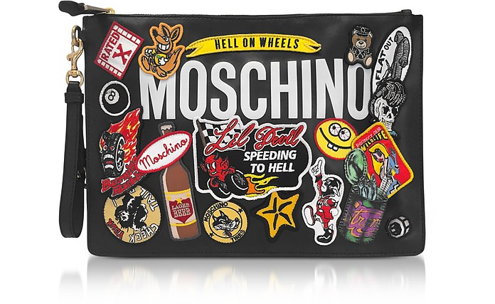 Black Leather Clutch w/Patches and Logo - Moschino