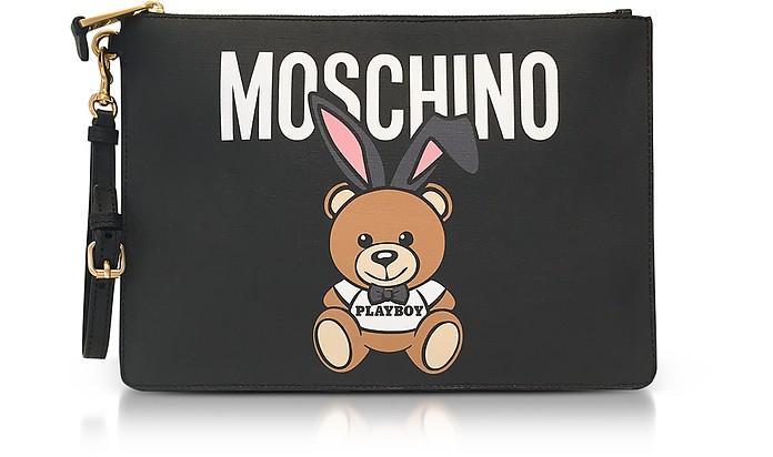 Playboy Edition Pochette in Pelle Nera con Maxi Logo e Teddy Bear Moschino 0dI8fI