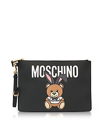 Teddy Playboy Print Saffiano Leather Oversized Clutch - Moschino