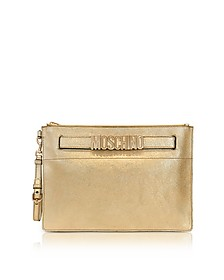 Gold Metallic Leather Clutch w/Signature Logo - Moschino