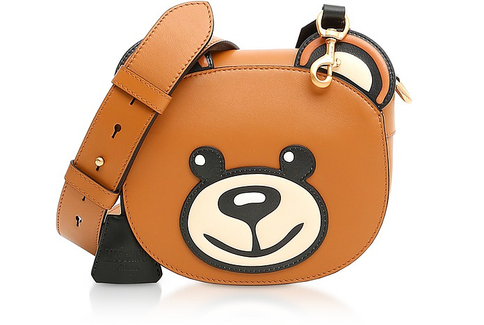 Large Teddy Bear Leather Shoulder Bag - Moschino