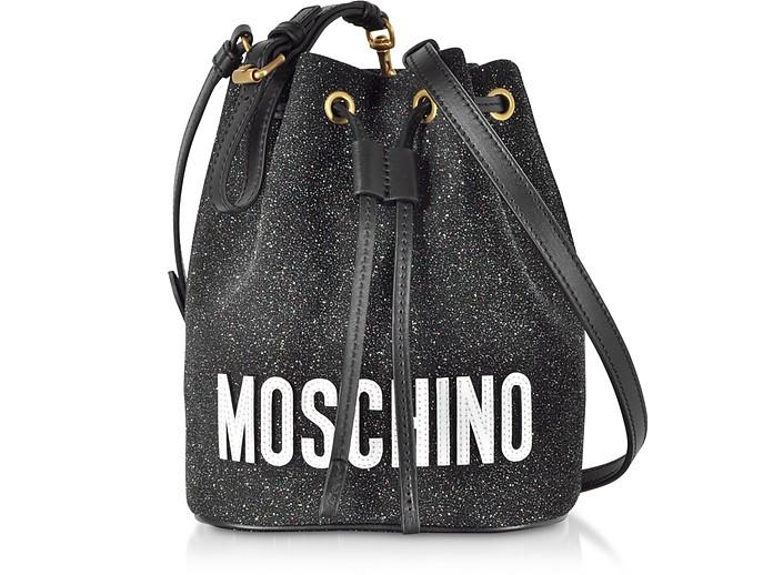 Sac Seau en Toile Pailletée et Cuir Noir avec Logo Signature  - Moschino