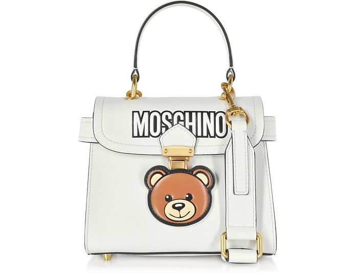 White Leather Teddy Bear Satchel Bag - Moschino