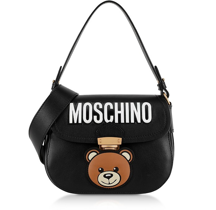 Black Leather Teddy Bear Shoulder Bag - Moschino / モスキーノ