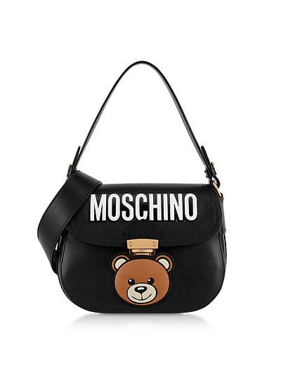 Black Leather Teddy Bear Shoulder Bag - Moschino