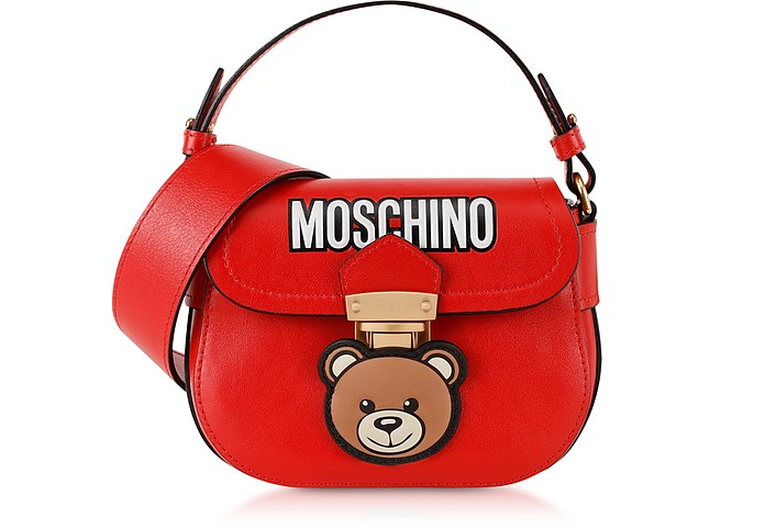 Small Red Leather Teddy Bear Shoulder Bag - Moschino