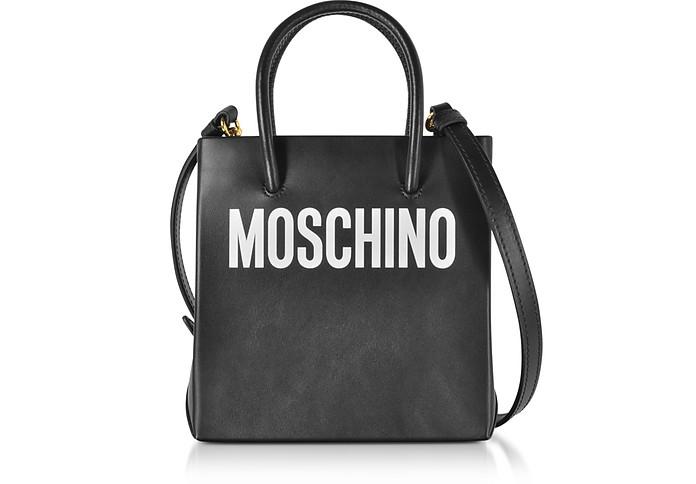 Black Leather Signature Tote Bag - Moschino