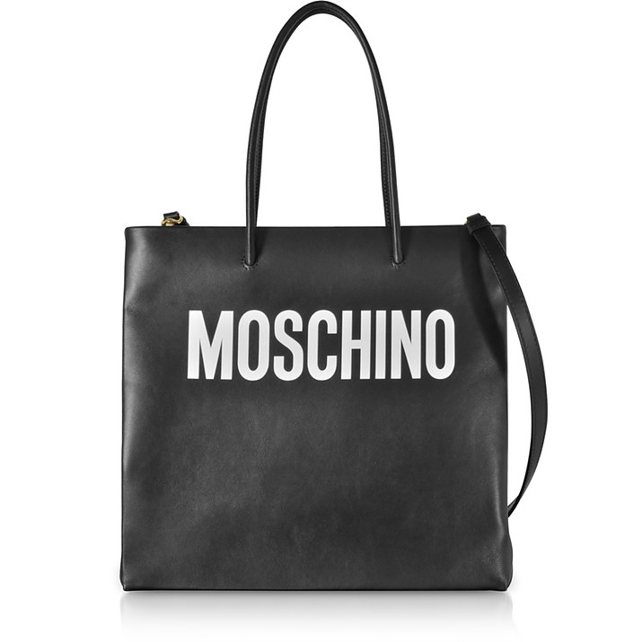 Black Signature Leather Vertical Tote - Moschino / モスキーノ
