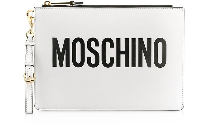 White Signature Leather Clutch - Moschino