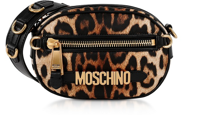 Crossbody Tasche mit Animal Print aus Nylon - Moschino