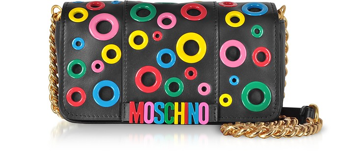 Leather Multicolor Eyelets Shoulder Bag - Moschino