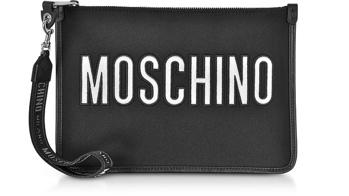 Pochette en Toile Noire avec Logo Signature - Moschino
