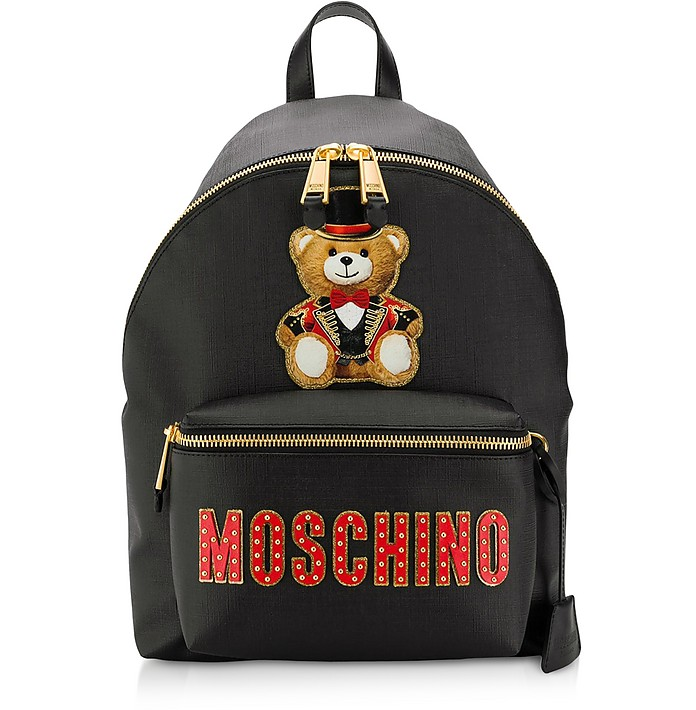 Black Teddy Bear Backpack W&Teddy Circus Patch - Moschino