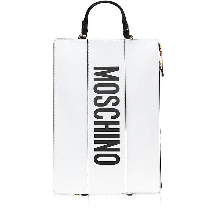 White Leather Flat Backpack - Moschino 摩斯基诺
