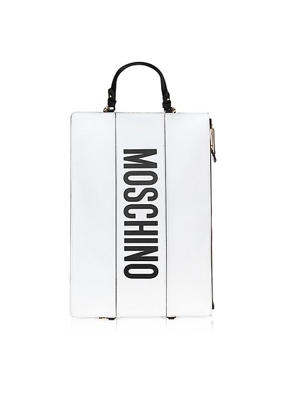 White Leather Flat Backpack - Moschino