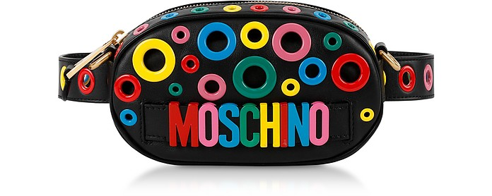 Leather Multicolor Eyelets Belt Bag - Moschino