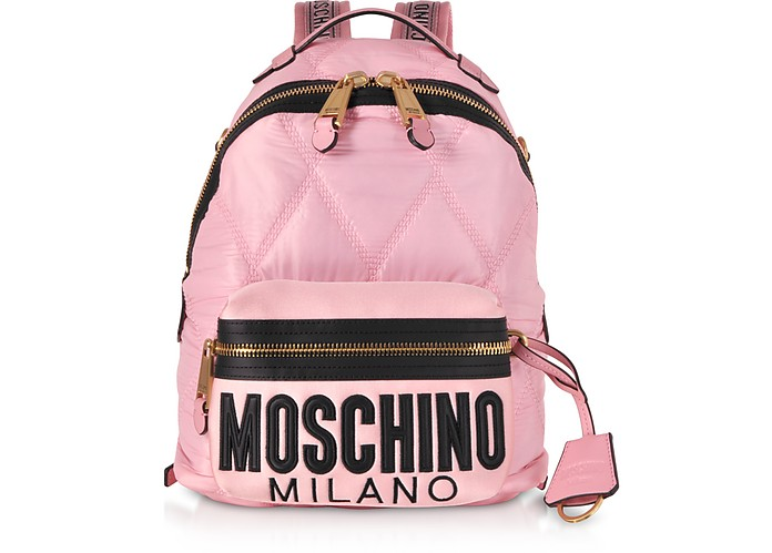 Quilted Canvas and Satin Signature Backpack - Moschino