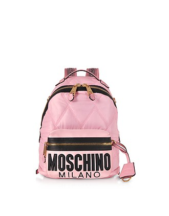 b7963e639a Quilted Canvas and Satin Signature Backpack - Moschino