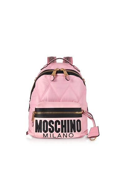 Rucksack aus gestepptem Canvas und Satin mit Logo - Moschino