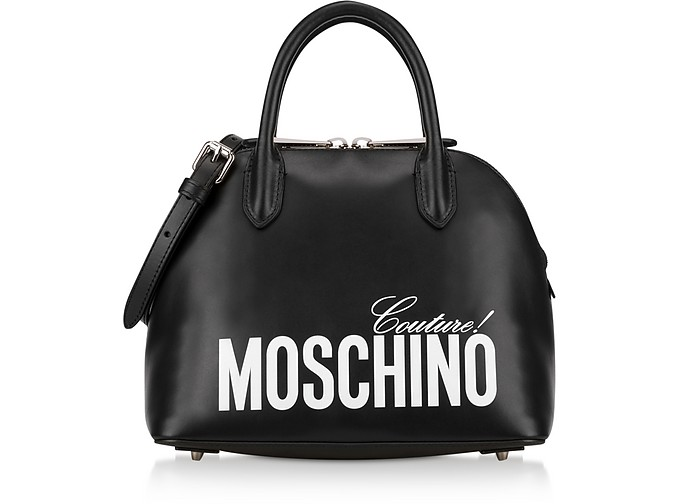 Black Calf Leather Bowler Bag - Moschino