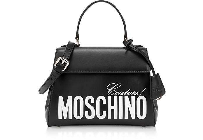 Black Calf Leather Satchel Bag - Moschino