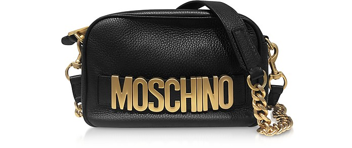 Black Hammered Leather Signature Shoulder Bag - Moschino